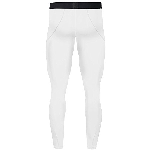 1Bests Men's Sports Running Set Compression Shirt + Pants Skin-Tight Long Sleeves Quick Dry Fitness Tracksuit Gym Yoga Suits (White, S)