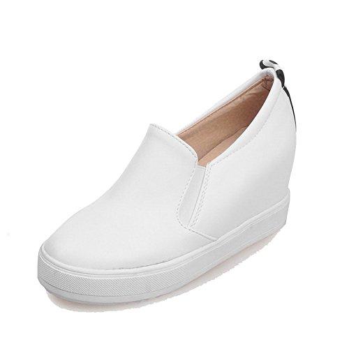 AgooLar Damen Rund Schließen Zehe Hoher Absatz Ziehen auf Pumps Schuhe Weiß