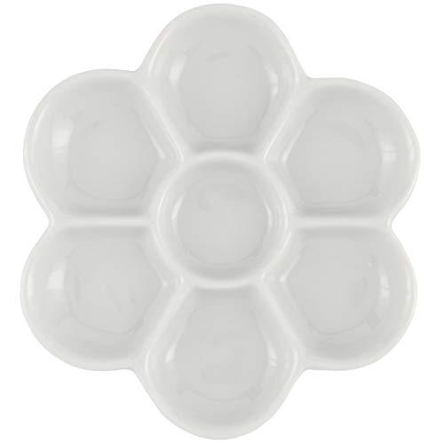 "Creative Mark Glazed Flower Porcelain Paint Palette Tray for Watercolor, Gouache, Color-Mixing – White 4¾"" inch Diameter"