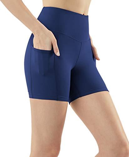 TSLA Active Bike Running Yoga Shorts Side/Hidden Pocket Series, Pocket Contour 5inch(fys25) - Navy, Medium (Size 8-10_Hip39-41 - 165 Series