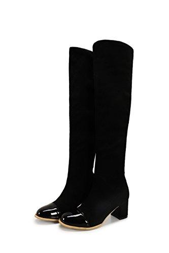 AllhqFashion Damen Ziehen auf Mittler Absatz Gemischte Farbe Hoch-Spitze Stiefel Schwarz