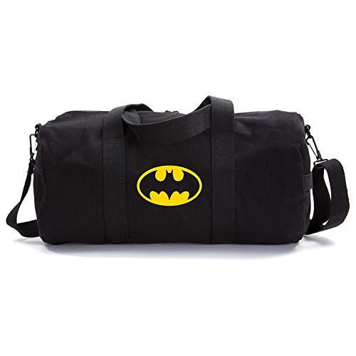 Batman Bat Symbol Sport Heavyweight Canvas Duffel Bag in Black & Yellow, Medium]()