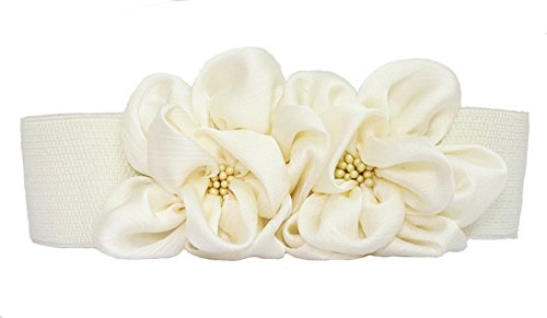 Rhinestone White Belt Buckle - BAIMIL Women's Chiffon Flower Decorative Belt Elastic Wild Belt Buckle Belt White,One Size