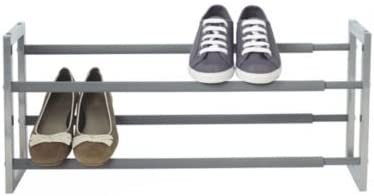 Silver Lakeland Extending Steel Shoe Rack Holds up to 10 Pairs