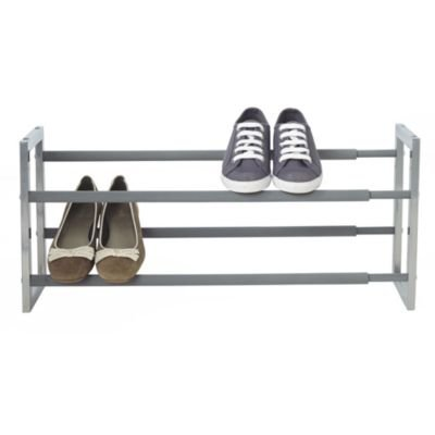 Lakeland Extending Steel Shoe Rack, Holds up to 10 Pairs - Silver