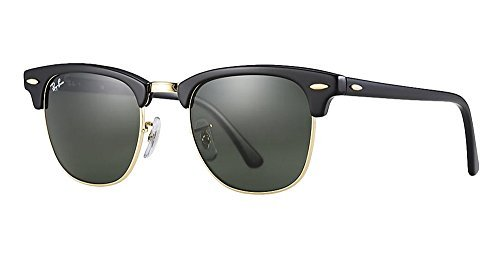 Ray-Ban RB3016 Clubmaster Sunglasses (51 mm, Solid Black G15 Lens Non-Polarized Lens) by Ray-Ban (Image #1)