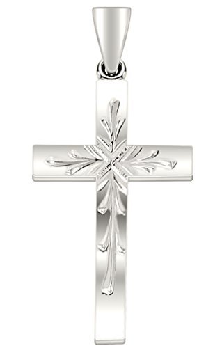 US Jewels And Gems 1.0in 14k White Gold Christian Cross Pendant Polished Finish
