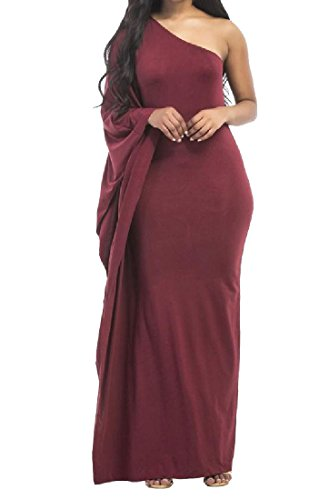 Delle Cocktail Rosso Donne Vestito Vino Sottile Elegante Colore Comodi Obliquo Puro Scompigliò 5vBwxT0