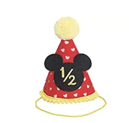 Half Birthday Mickey Party hat| Half Birthday Outfit Boy Mickey Mouse Party Hat Cake Smash Outfit | 1st Birthday Outfit | Party Hat | Cake Smash Cake Photoshoot Photoprop (Half Birthday Hat)]()