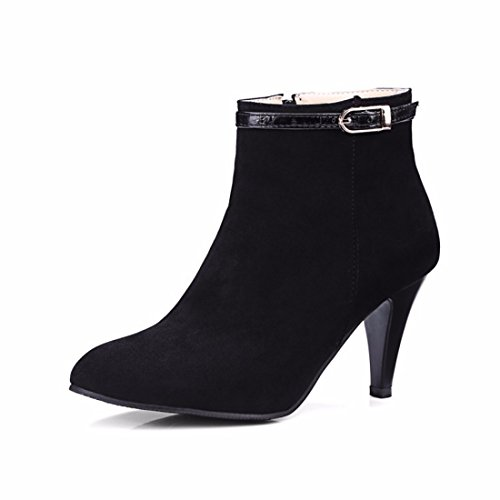 belt high with buckle Black Women's RFF Shoes Terry boots Female boots heeled winter fine zII6F1q