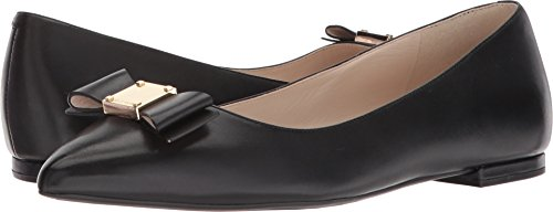Skimmers Flats Shoes Black (Cole Haan Women's Tali Bow Skimmer Ballet Flat, Black Leather, 8 B US)