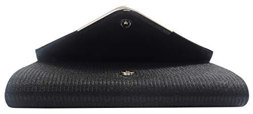 Pulama kvinnors glitter clutch triangel klaff med metallram kvällsfest handväska (svart)