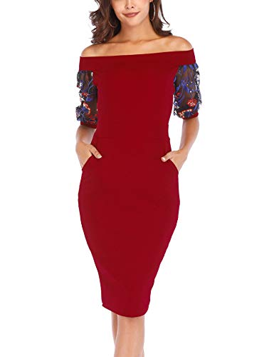 Naive Shine Women's Vintage Off Shoulder Floral Embroidery Bodycon Party Dress Dark Red Size XXL -