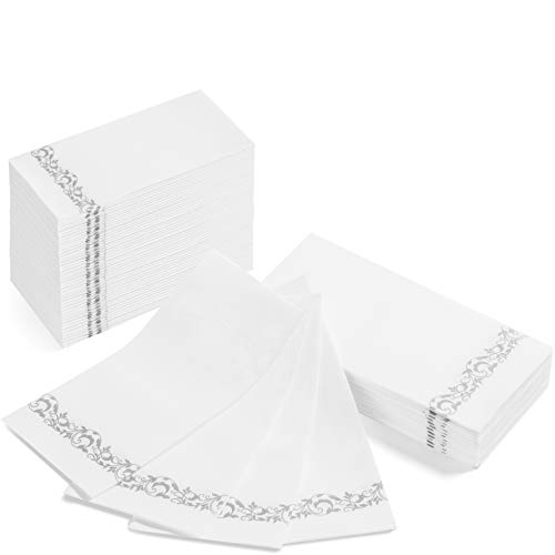 American Homestead Silver Design Linen Feel Guest Towels Disposable Cloth-Like Paper Hand Napkins Soft, Absorbent, Hand…