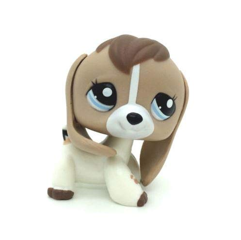 Littlest pet Shop LPS #2207 Tan White Beige Brown Beagle Dog Puppy Blue Eyes (Littlest Pet Shop Beagle Dog)