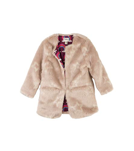 (Hatley Girls' Big Faux Fur Jackets, Pink Stars, 7 Years)