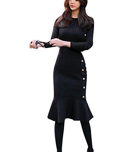 YUCH Lady's Hip Knitted Dress Jupe en Coton lastique lgante Black