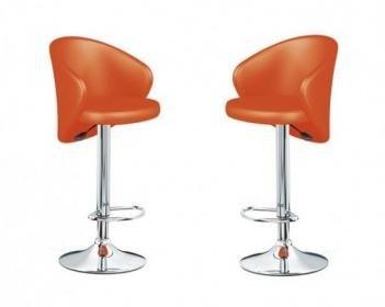 Coppia sgabelli ecopelle arancione per cucina bar ristorante