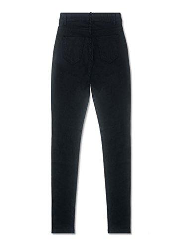 Vita Alta Ginocchio Pantaloni Skinny Donna Strappato A Legging Nero Jeans YawSYvqR