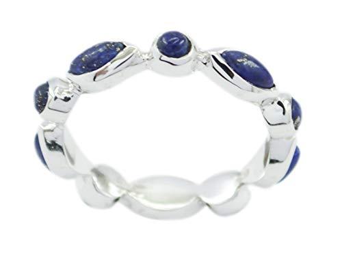 Exporter 925 Sterling Silver Resplendent Genuine Blue Ring, Lapis Lazuli Blue Stone Silver Ring