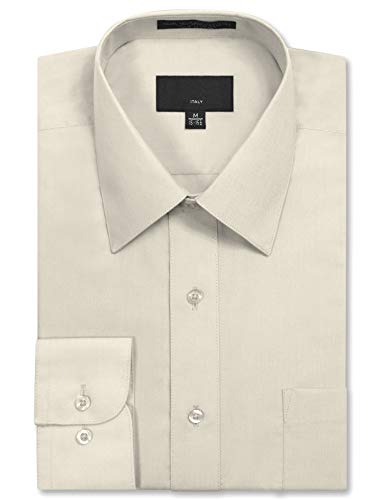 JD Apparel Mens Long Sleeve Regular Fit Solid Dress Shirt 18-18.5 N 34-35 S - Ivory Shirt Mens
