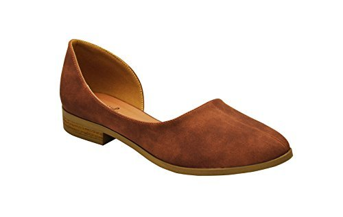 Qupid Tuxedo-74 Womens D'Orsay Style Flat Lt Taupe Size 6