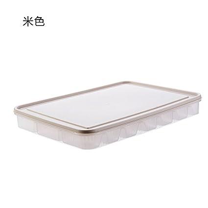 UWSZZ Dumpling cajas de plástico con tapa bandeja congelar alimentos caja de almacenamiento frigorífico cocina dumpling
