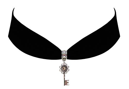 Victorian Vault Black Velvet Choker Steampunk Jewelry Gothic Jewel Key Pendant Necklace (Brown)