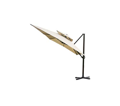 - Premium 9 by 12-Feet Rectangular Offt Cantilever Dual Wind Vent Patio Hanging Umbrella with Cross Ba, Beige