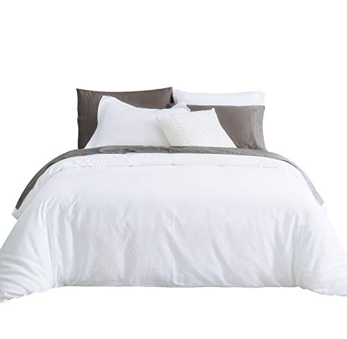 King Size Stripes Duvet Cover - SUSYBAO 3 Piece Duvet Cover Set 100% Natural Cotton King Size 1 Duvet Cover 2 Pillow Shams Solid White Luxury Quality Super Soft Breathable Comfortable Lightweight Durable Bedding with Zipper Ties