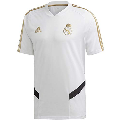 adidas Men's Real Madrid Training Jersey (Large) White/Dark Football Gold (Mens Real Madrid Soccer Jersey)
