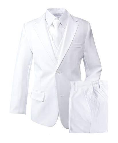 First Communion Suit (Spring Notion Boys' Modern Fit White Dress Suit Set)