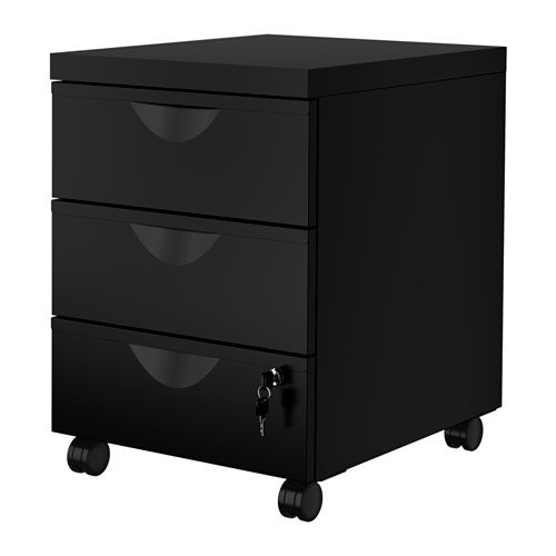 Mobile Office File Cabinet 3 Drawers ON CASTERS Lockable Black Lock and Key Included