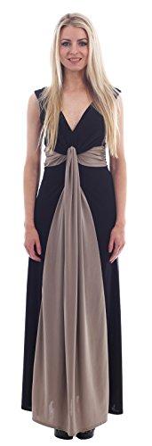 Del Grecian Largo Mujer Chocolate Suave De Nudo Contraste ® Talla Color mocha Black Pickle Vestido Para Maxi gwPEY