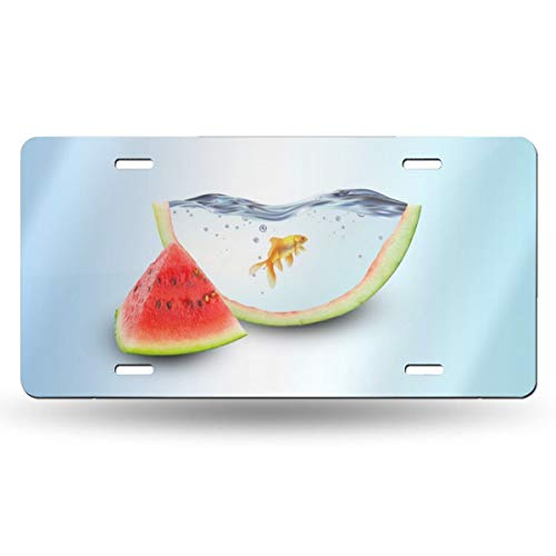 Homlife Personalized License Plate, Watermelon Goldfish Funny Creative Design Aluminum Novelty USA Car Tag, 6 X 12 Inches for Home Wall Art Decor