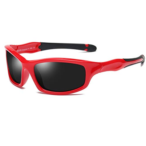 Duco Kids Sports Style Polarized Sunglasses Flexible Frame For Boys And Girls K006 (Red Frame Black Temple Grey Lens, 55)