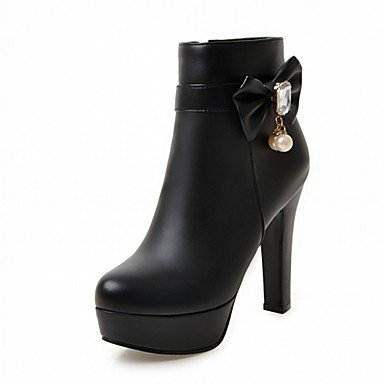 RTRY Zapatos De Mujer De Piel Sintética Pu Novedad Moda Otoño Invierno Confort Botas Botas Chunky Talón Puntera Redonda Botines/Botines De Fiesta Bowknot US8.5 / EU39 / UK6.5 / CN40