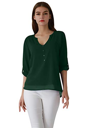 (OMZIN Women's Casual Loose Three Quarter Sleeve Solid Color Shirts Green XL)