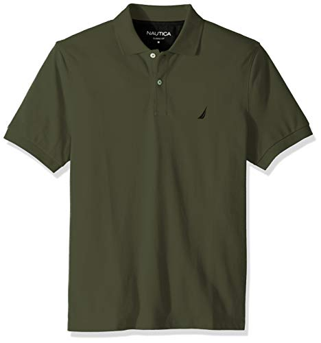 Nautica Men's Classic Short Sleeve Deck Polo Shirt, Pine Forest, Medium -