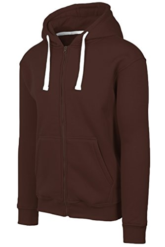 JC DISTRO Plus Size Hipster Hip Hop Basic Heavy Weight Zip-Up Brown Hoodie Jacket 3XL