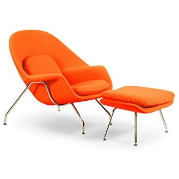Amazon Com Kardiel Womb Chair Amp Ottoman Orange Boucle