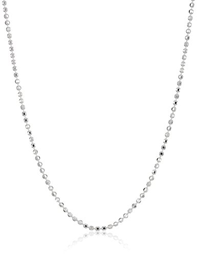Sterling Silver Diamond Cut Bead Chain Necklace, (Diamond Cut Bead Chain)