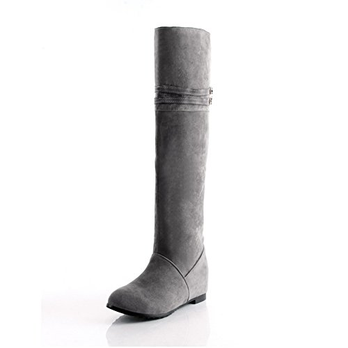AmoonyFashion Womens Closed Round Toe Low Heels Nap Solid Boots with Heighten Inside and Non-Slipping Sole Grey G9tfMfIUB