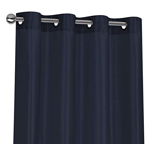 Regal Home Collections 2 Pack Semi Sheer Faux Silk Grommet Curtains - Assorted Colors (Navy) (Silk Curtains Navy)