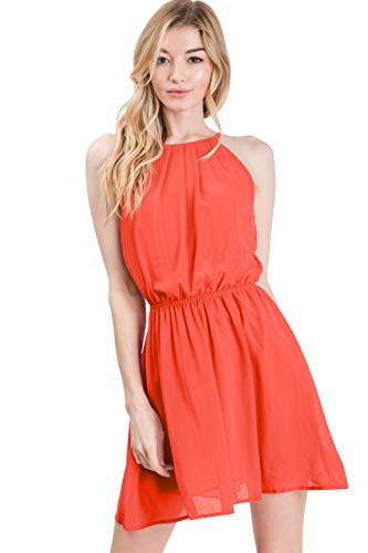 CLOVERY Women's Double Layered Pleated Neck Cinched Waist Chiffon Mini Cami Tank Dress Tomatored M