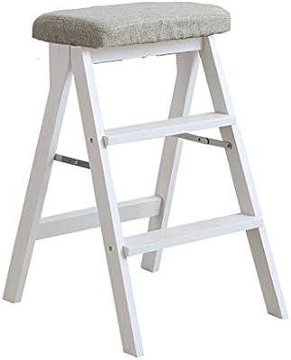 Taburete Madera 3 niveles para niños adultos Silla de escalera Banqueta Taburete plegable para la biblioteca Casa Cocina Blanco Escalera Plegable madera: Amazon.es: Hogar