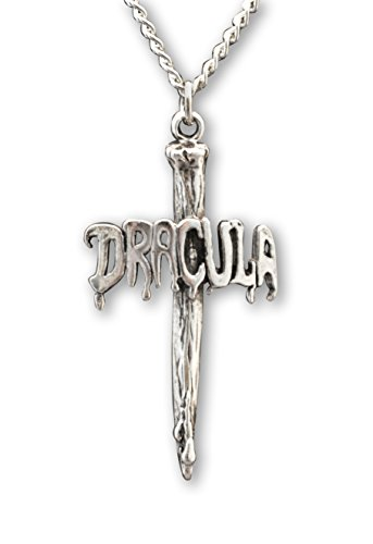 [Dracula Vampire Stake Silver Finish Pewter Pendant Necklace] (Real Dracula Costume)