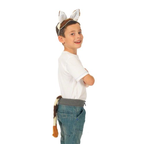Charlie Crow Cow Ears & Tail Set for Kids one Size fits All 3+ Years Brown and White