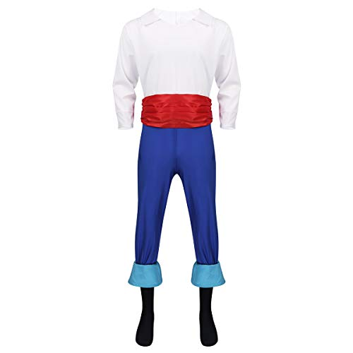 Easy Prince Costume (iEFiEL Adult Eric Prince Deluxe Mens Costume Carnival Halloween Party Role Play Cosplay Colorful)