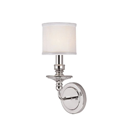- Capital Lighting 1231PN-451 Wall Sconce with White Fabric Shades, Polished Nickel Finish